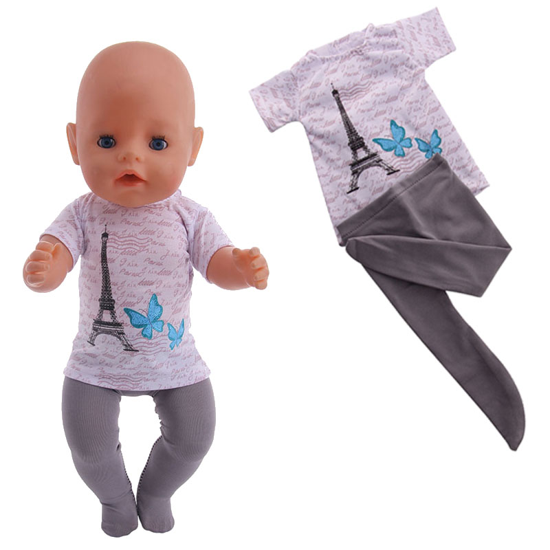 Tower T-shirt Leggings Two-Piece Suit For 18-Inch American 43 Cm Baby Doll Clothes Accessories, Girl Toys,  Generation,