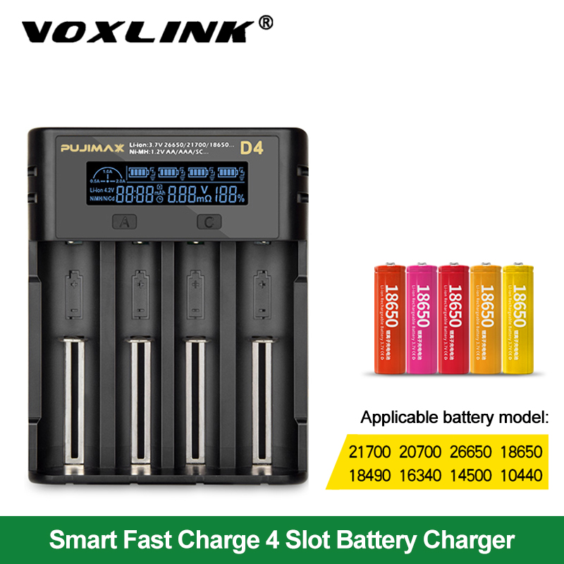 VOXLINK battery charger18650 LCD screen show the fast charging 26650 18350 21700 26700 22650 Li-ion Rechargeable Battery charger