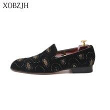 2019 New Men Shoes Handmade Rhinestone Luxury Wedding Party Loafers Italian Designer High Quality Black Leather Slip On Shoe