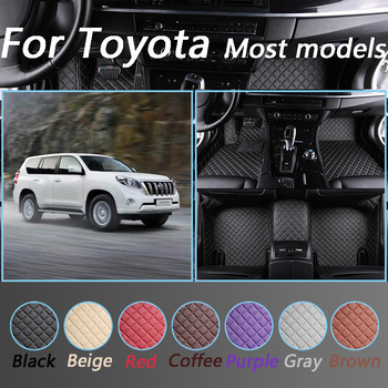 Leather Car Floor Mats For Toyota Corolla Camry Rav4 Auris Prius Yalis Avensis Alphard 4Runner Hilux Interior Accessories image
