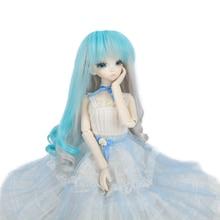 Muziwig BJD Wig Fair size 1/3 1/4 1/6 1/8 blue mix color Long Wave High Temperature Fiber hair for Dolls 8 9 bjd long volume wig brown high temperature wire 1 3