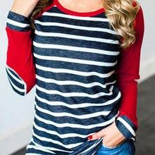 Женская Полосатая бейсбольная Футболка с длинными рукавами и заплатками на локоть, женская футболка размера плюс, Корейская Повседневная Базовая одежда на осень и зиму