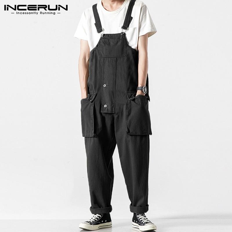 INCERUN Men Jumpsuit Casual Romper 2020 Joggers Loose Bib Pants Streetwear Fashion Solid Color Suspenders Men Overalls Harajuku