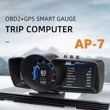 VODOOL OBD2 + GPS חכם גרסה מד מהירות רכב טורבו לחץ שמן צריכת OBD על לוח מחשב HUD תצוגה