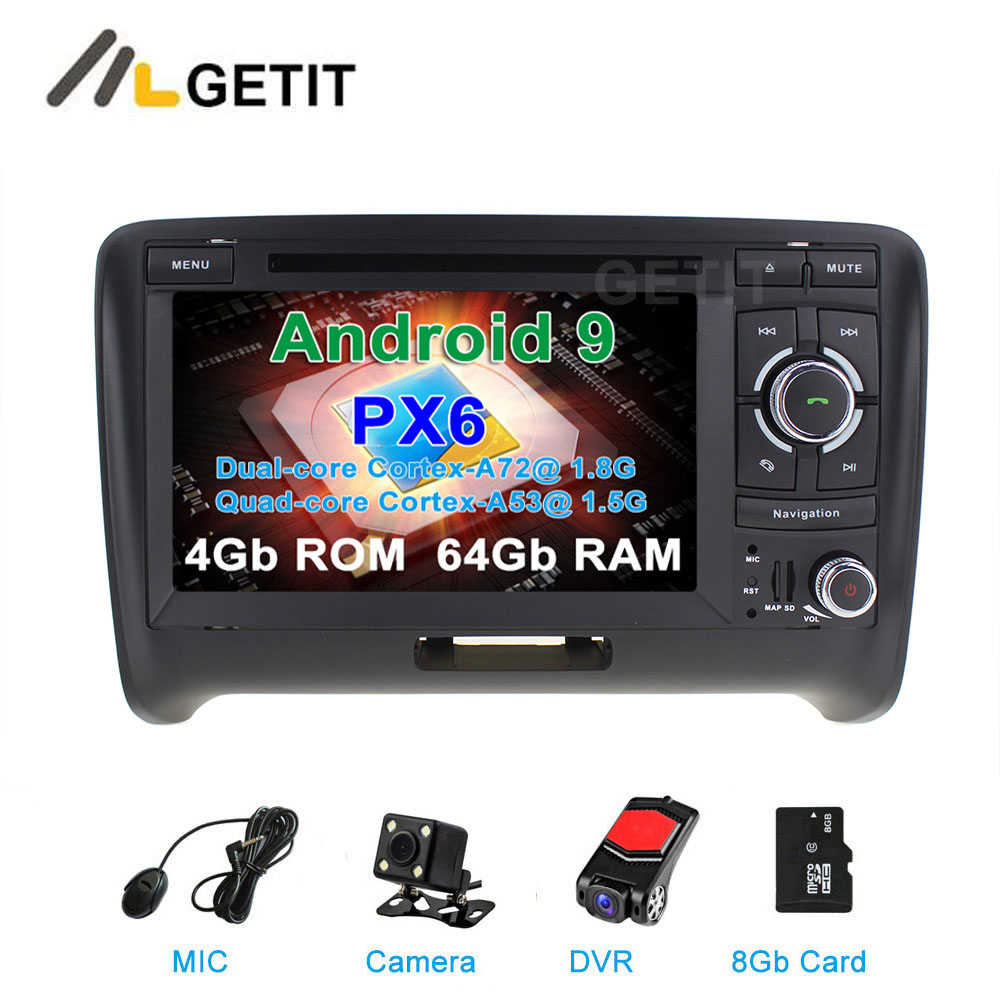 DSP 64G PX6 Android 9 Auto DVD Video Stereo Radio Player di Navigazione GPS per AUDI TT MK2 (2006 -2014)