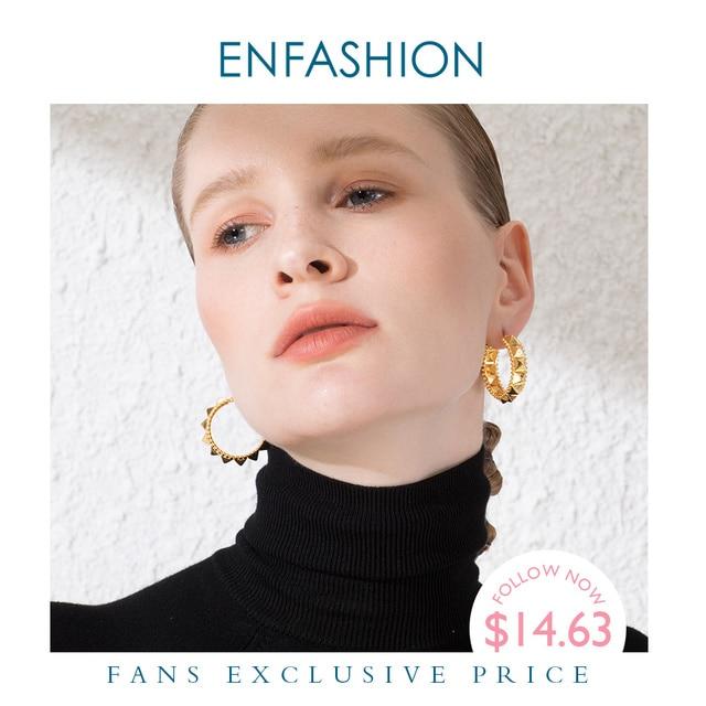 ENFASHION Punk Pyramid Hoop Earrings For Women Gold Color Small Circle Hoops Earings Fashion Jewelry Aros De Moda 2020 E191102