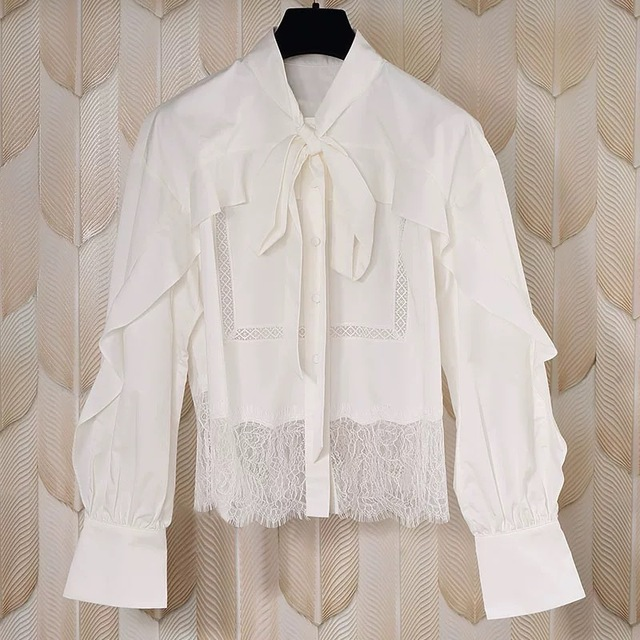 Lace stitching women shirt tops Bow Tie long sleeve casual wild Elegant temperament lady blouse 1