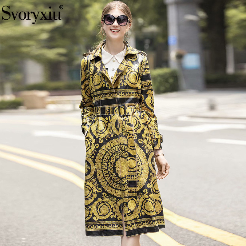 Svoryxiu 2019 Designer Brand Luxury Printed Winter Overcoat Outwear Women's Fashion Long Sleeve Imitation Pu Trench Coat Female