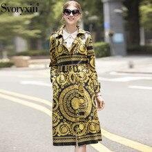 Svoryxiu 2019 Designer Brand luxury Printed Winter Overcoat Outwear Women's
