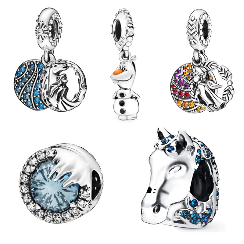 2019 Winter New Arrivals 925 Sterling Silver Beads Elsa Nokk Olaf Charms Fit Original Pandora Bracelet Women DIY Charms Jewelry