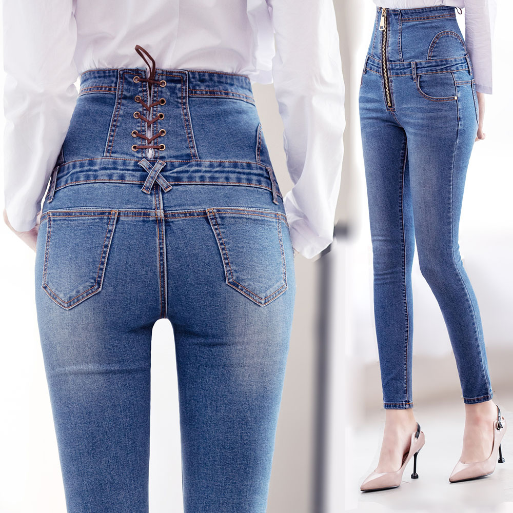 Jeans Woman High Waist Women Large Plus Size Skinny Pant Jeans Pants Women Female Mom Tight Elastic Strech Jeans With High Waist
