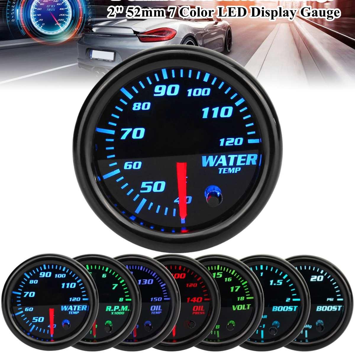 Универсальный автомобильный 7-цветный датчик светодиода 2 ''52 мм, Механический датчик светодиода Boost Psi/Bar, Масляный Пресс, температура масла, ...