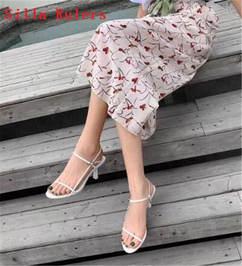 Trendy Dünne Wort Band Frauen Sandalen 2019 Einfache High Heels Leder Gladiator Sandalen Frauen Sommer Schuhe Frau alias mujer - 2