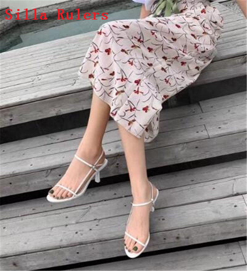 Trendy Thin Word Band Women Sandals 2019 Simple High Heels Leather Gladiator Sandals Women Summer Shoes Woman sandalias mujer - 2
