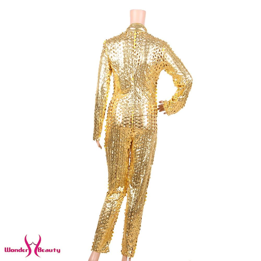 faux leather catsuit catwomen shiny black gold silver metallic leather jumpsuit wetlook pu leotard bodysuit bar night clubwear (16)