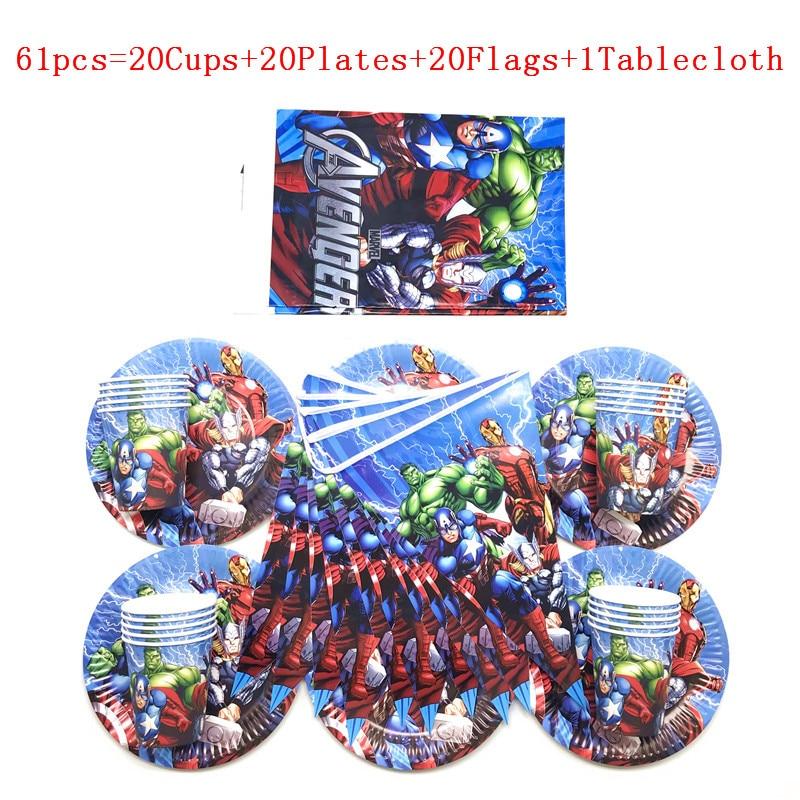 Vingadores tema festa de aniversário suprimentos decoração crianças descartáveis utensílios de mesa placa copos guardanapos menino chá de fraldas favores toalha de mesa