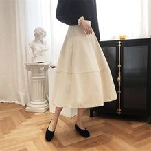 Sisjuly Elegant Vintage Women Skirt Silhouette Puff A-line Skirt Women's Spring New Mid-Calf High Waist Retro Skirt French Solid