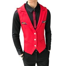 man 2020 New Arrival Chaleco Hombre Fashion Solid Slim Fit Vest Men Wedding Dress Formal Waistcoat gilet homme Black Red(China)