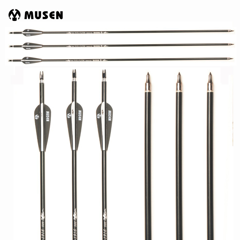 <font><b>30</b></font> Inches Aluminum Arrow Spine <font><b>500</b></font> Diameter 7.8mm for Compound/Recurve Bow Archery Hunting Shooting image