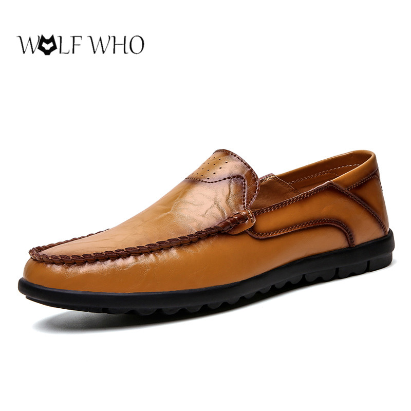 Men Genuine Leather Shoes Soft Slip-On Sneakers Male Comfortable Driving Shoes Casual Business Loafers Shoes Men Big Size 37-47#