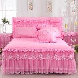 1 peça de renda saia cama + 2 peças fronhas conjunto cama princesa colchas folha cama para menina capa rei/rainha tamanho