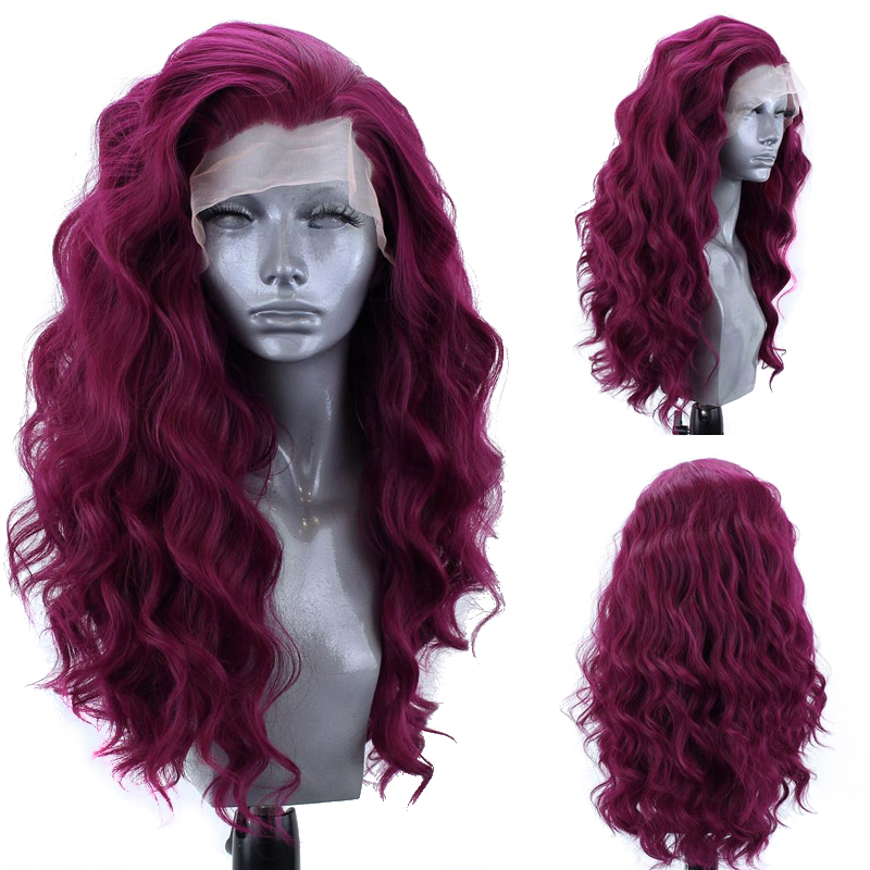 Charisma Side Part Long Wavy Wig Heat Resistant Hair Synthetic Lace Front Wig For Black Women Red Wigs Natural Hairline 13x3