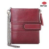 2019 new cowhide women's wallet short fashion clutch bag double zipper buckle coin purse multi function card package