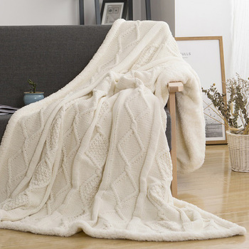 Синель ягненка утолщение вязаный плед двойной слой шерпа плюшевый флис для кровати диван вязание одеяло s покрывало