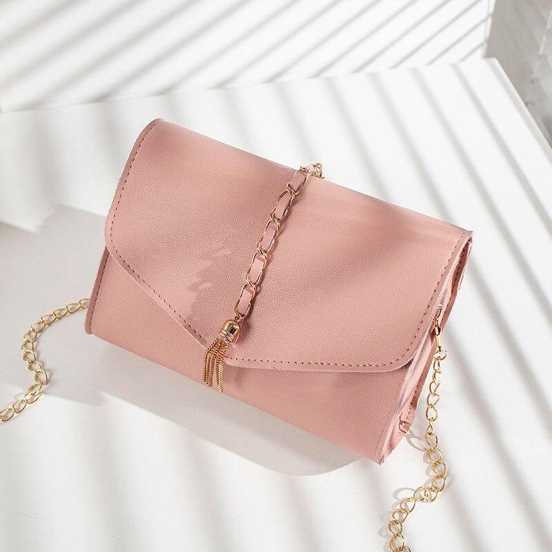 New Trend Tassel Solid Color Flap Messenger Bag Korean Style Women Shoulder Envelope Bag