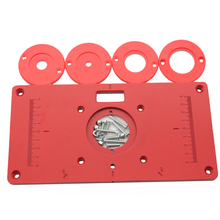 Trimming machine Flip Plate guide table Aluminum Router Table Insert Plate w/ 4 Router Insert Rings for Woodworking Benches