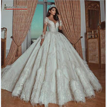 Luxury beading ball gown wedding dress with feather bridal dresses new