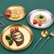 Plato redondo de acero inoxidable coreano para barbacoa, plato occidental para pastel, plato grueso dorado y plateado, vajilla para tienda de postres y fiestas