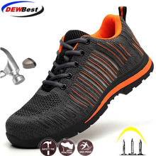 new arrival large size mens fashion breathable steel toe caps work safety shoes anti-pierce platform security boots protection(China)