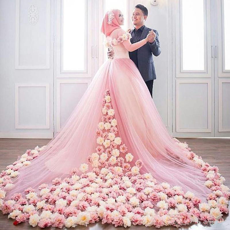 Blush Pink Muslim Plus Size 2019 A-Line 3D-Floral Appliques Wedding Dresses Long Sleeve Court Train Lace-up Tulle Wedding Gown