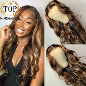 Topnormantic Highlight Color Human Hair Wig Brazilian Remy Hair Lace Front Wigs Preplucked Body Wave Wigs For Women