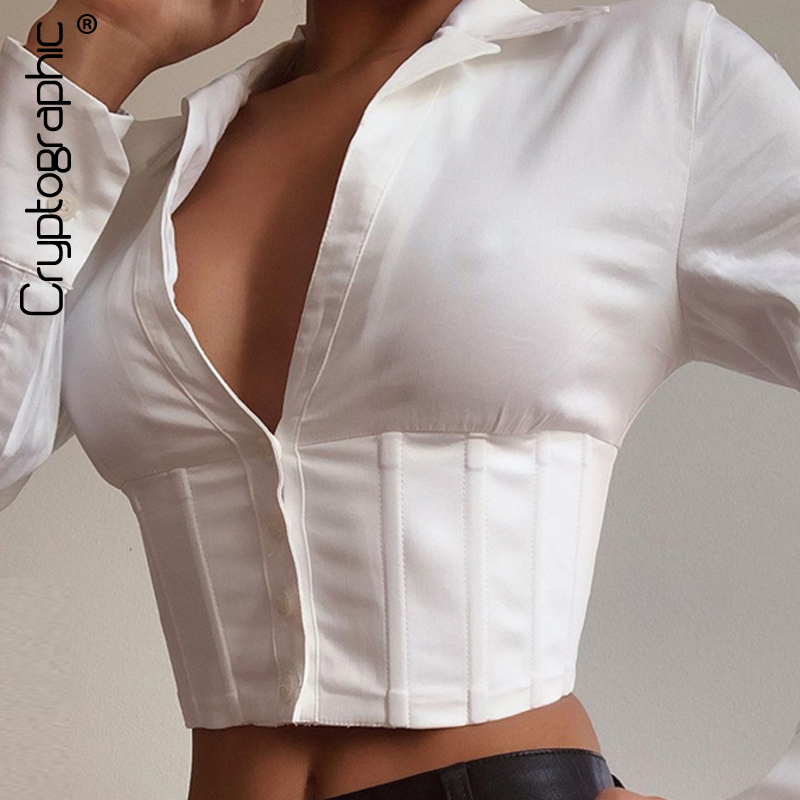 Cryptographic Lace Up White Sexy V-Neck Women Tops And Blouses Long Sleeve Fashion Crop Tops Shirts Ladies Blouses Streetwear