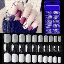 100 pçs/caixa curto unhas falsas dicas forma quadrada unhas artificiais dedo cobertura completa falso unhas dicas manicure arte do falso ongles unhas
