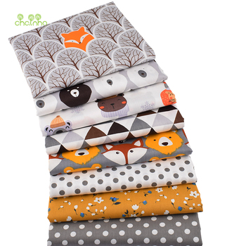 Chainho,8pcs/Lot,Jungle Animals Series,Printed Twill Cotton Fabric,Patchwork Cloth,DIY Sewing Quilting Material For Baby&Child 2