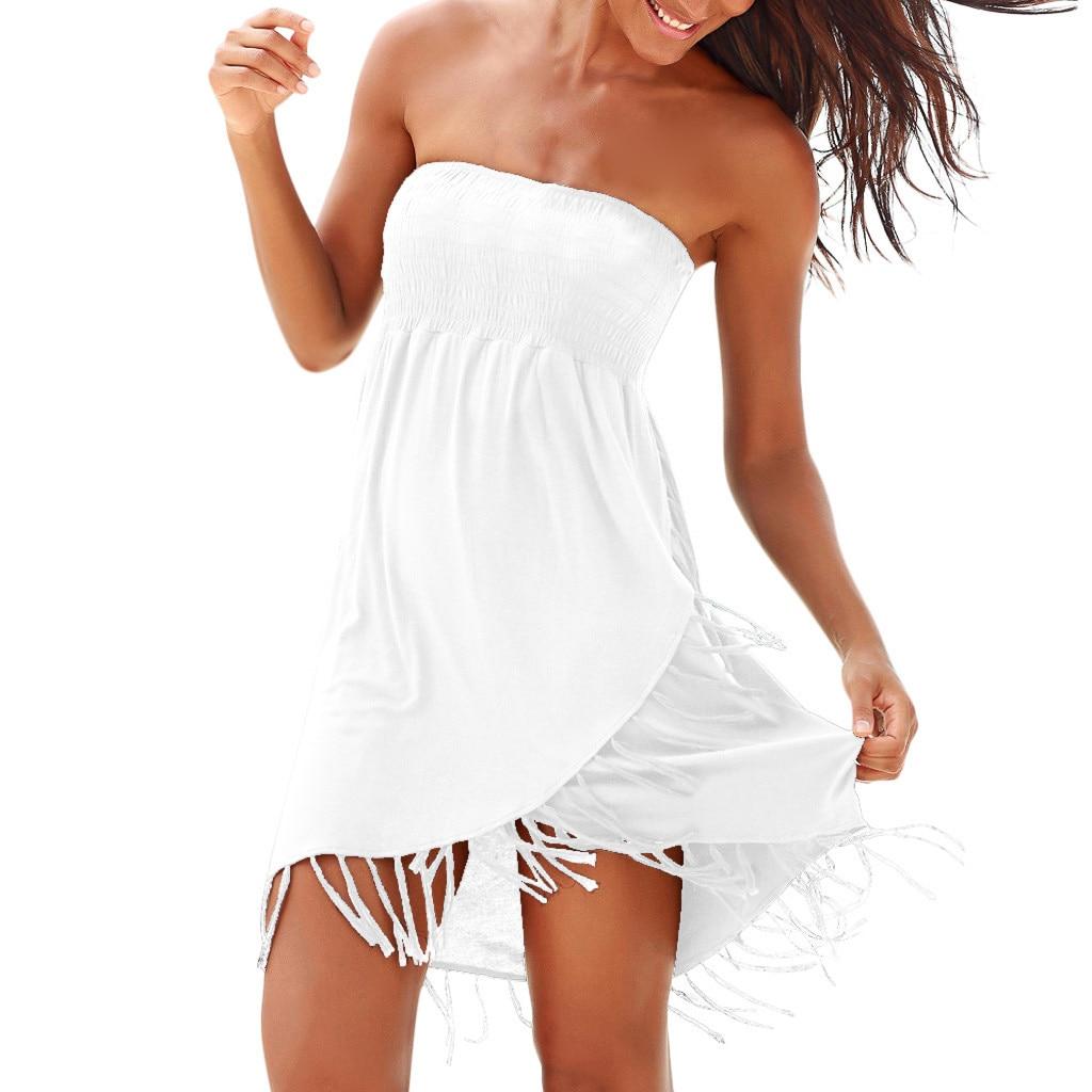 Women Sexy Boho Dresses  Off The Shoulder Tassel Dress Summer  Beach Dress Dresses for women summer Solid Women dresses