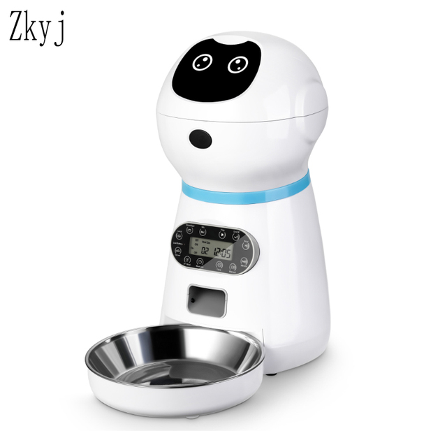 Automatic Feeder With Voice Record Stainless Steel Food Bowl - LCD Screen Timer Food Dispenser 1