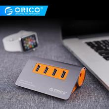 ORICO Aluminum 4 Ports USB3.1 Hub 10 Gbps Super Transmission Speed USB Splitter with 12V Power Adapter For Computer Accessories orico m3h73p aluminum usb hub splitter super speed 5gbps 7 usb3 0 ports 3 usb charging ports for charging