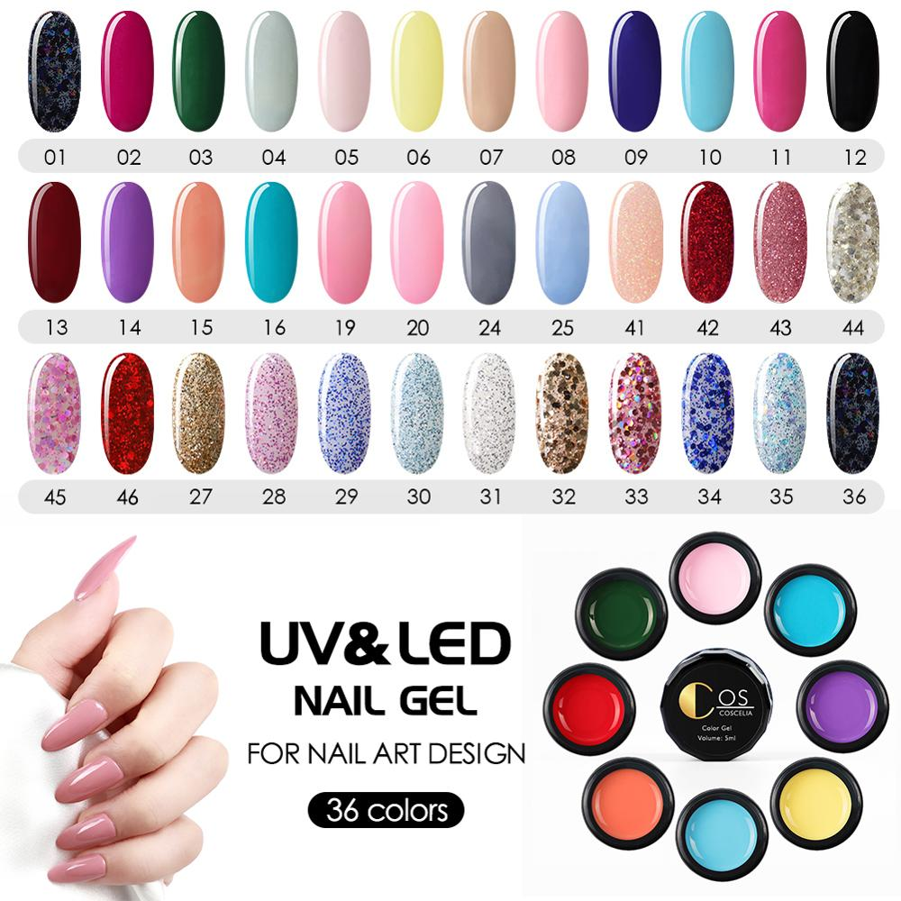 COSCELIA UV Gel Polish Kit 36 Color Nail Salon Poly Gel Paint DIY Design Soak Off Paint UV Nail Gel Varnish Manicure Art Set