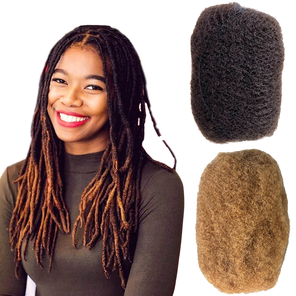 YONNA 4pcs/lot Tight Afro Kinky Bulk Hair 100% Human Hair For Dreadlocks,Twist Braids Dark Brown #2 And #27