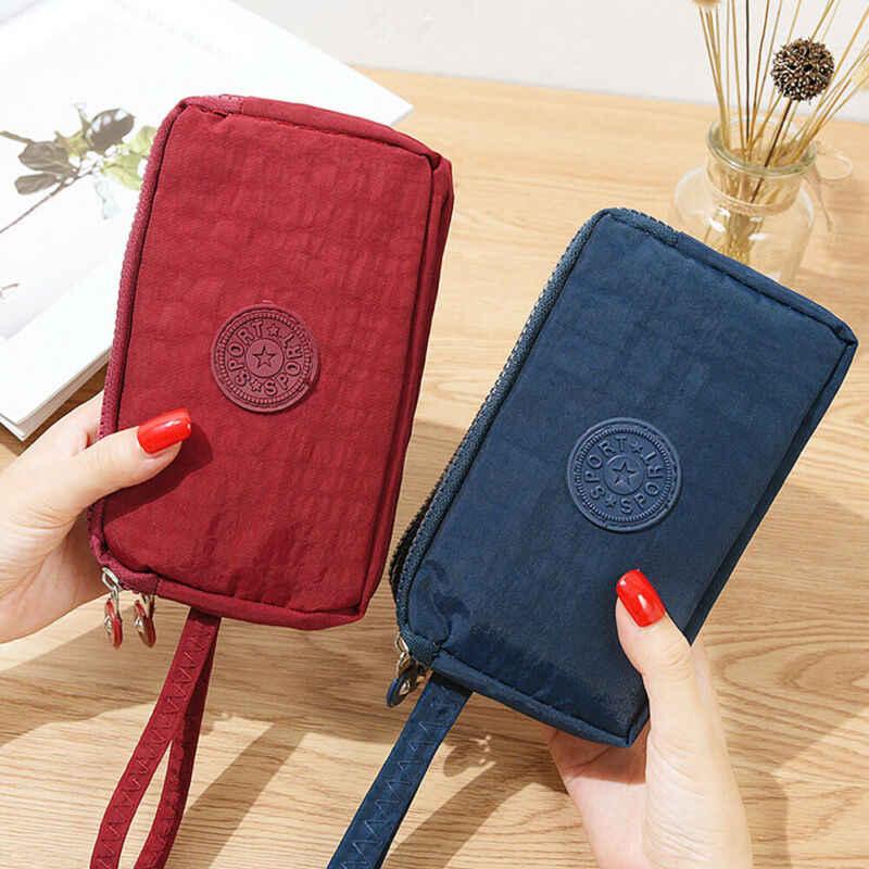 Vrouwen Solid 3 Layer Canvas Portemonnee Kaart Rits Portemonnee Houder Telefoon Tas Gift Card Id Houders Portefeuilles