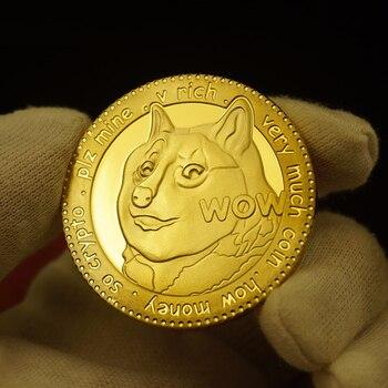 Divertido chapado en oro-recargue su monedas conmemorativas lindo diseño de perro año colección monedas de colección conmemorativa de plata monedas