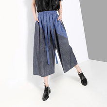 SexeMara 2019 Autumn New Elasticity Waist Sashes Empire Stripe Splicing Ladies Fashion Calf-Length Wide Leg Pants CPT045