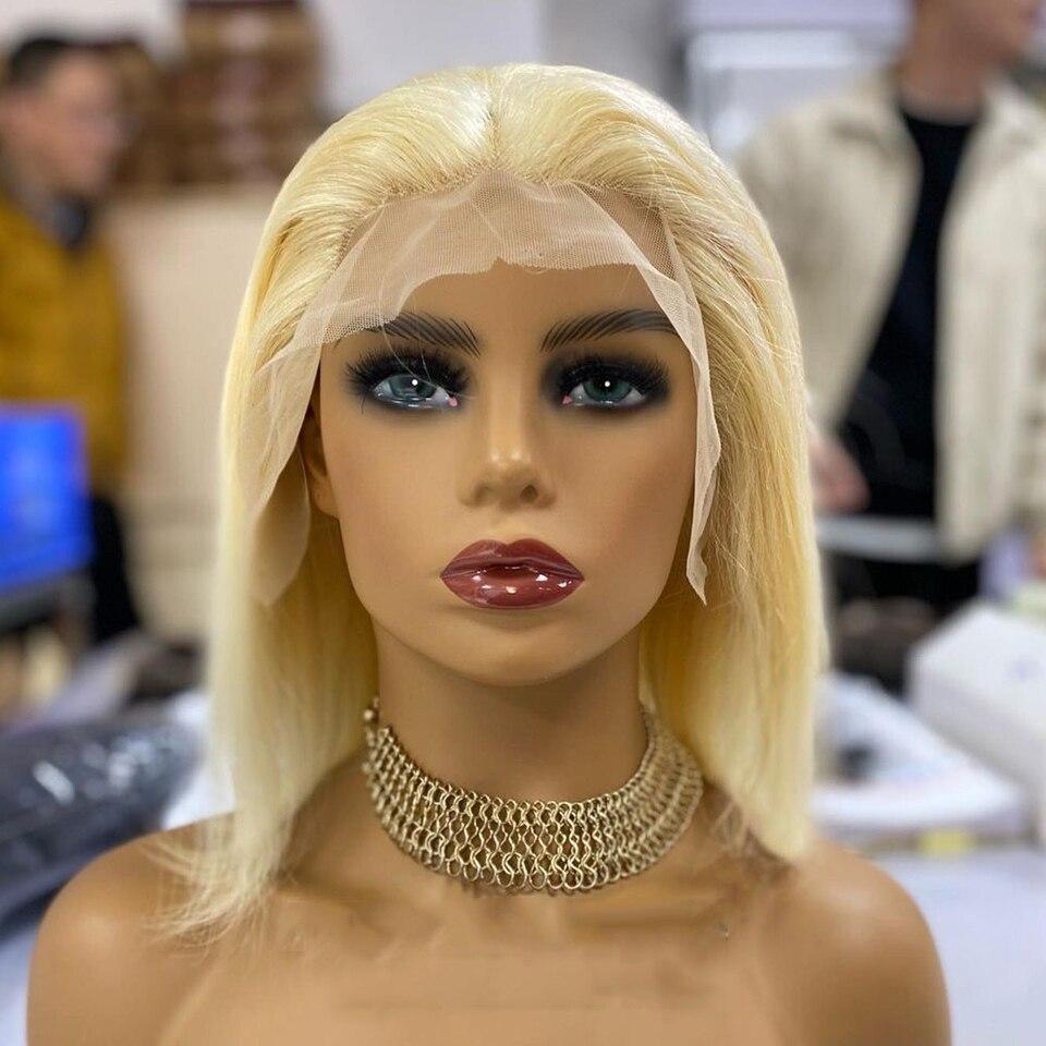 12A 613 Bob peruk renk Remy brezilyalı bal sarışın 13x1 T bölüm peruk kısa 150% dantel ön İnsan saçı peruk kadınlar için