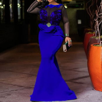 Women Evening Party Dress Sexy Mesh Patchwork Long Mermaid Dresses Long Sleeve High Waist Ruffles Ladies Bodycon Blue Dress 2