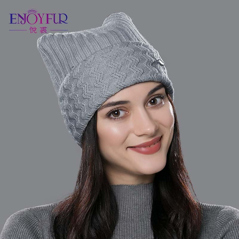 ENJOYFUR Winter Cotton Knitted Hats For Women New Parent-child Lovely Cat Ear Beanies Cute Casual Hats High Quality Gorros