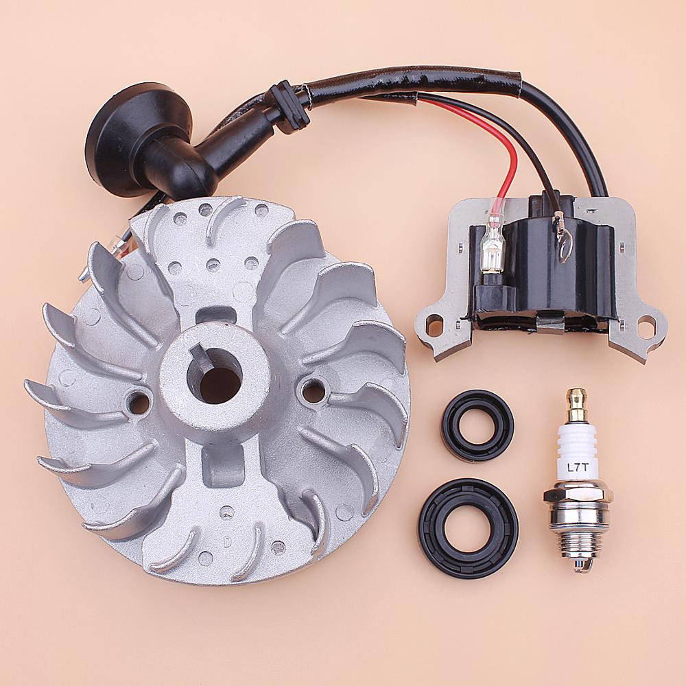 Flywheel Ignition Coil For 40-5 43cc 52cc Spark Plug Oil Seal Grass Trimmer Brush Cutter Engine